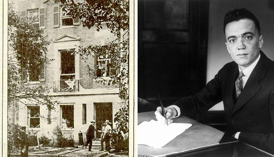Left: Attorney General A. Mitchell Palmer's house with bomb damage. Right: J. Edgar Hoover