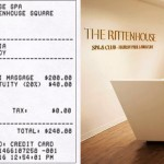 Left: Our mockup of a Rittenhouse Spa receipt showing the automatic gratuity. Right: The spa's entry.