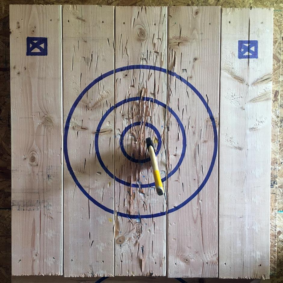 A near-bullseye throw at Urban Axes