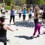 An outdoor pop-up workout at Be Well Philly Boot Camp