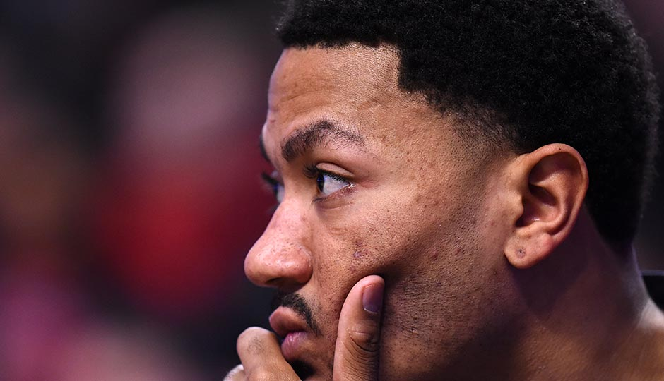 Chicago Bulls guard Derrick Rose sits on the bench during the first quarter against the Philadelphia 76ers at the United Center in April 2016.