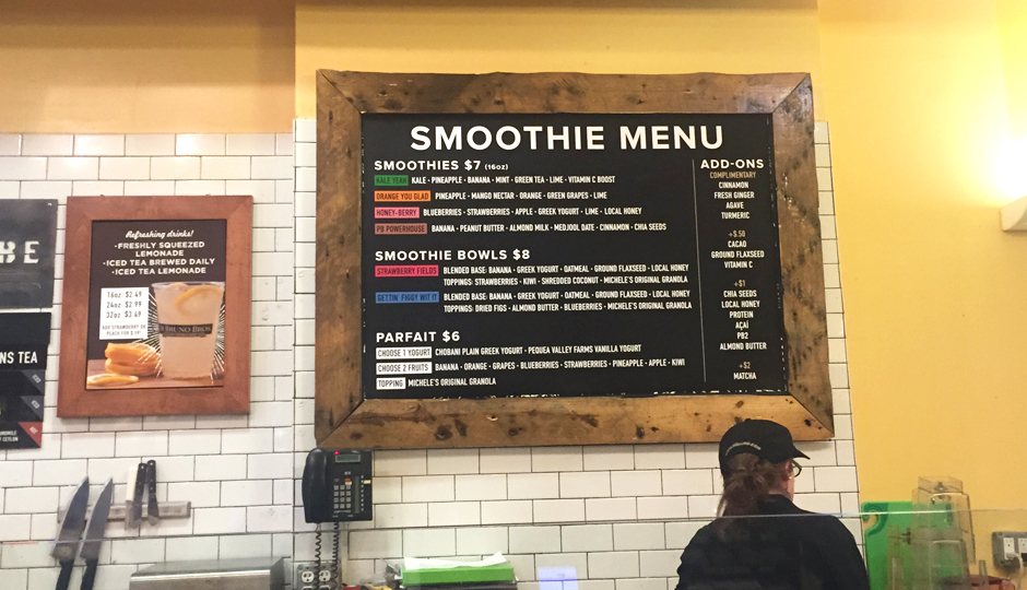 Menu at new Di Bruno Bros. smoothie bar | Photo by Adjua Fisher
