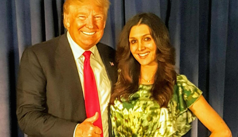 Presidential candidate Donald Trump with former Apprentice contestant Erin Elmore.