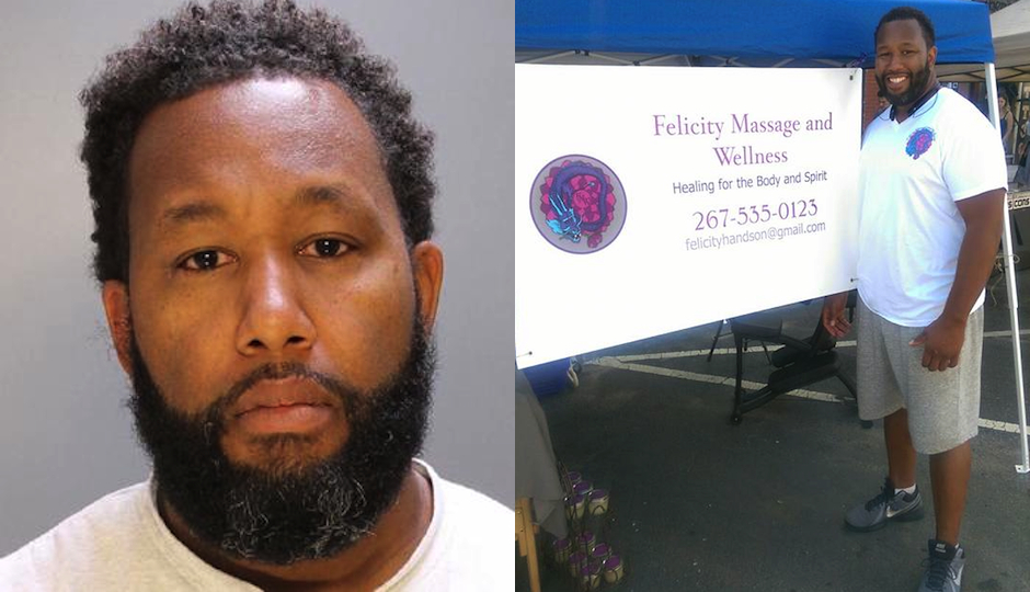 On the left, massage therapist Eric Elliott appears in a mugshot following his arrest for sexual assault. On the right, Elliott stands at his massage booth at the 2015 2nd Street Festival in Northern Liberties.