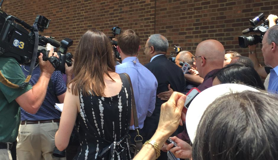 Convicted U.S. Congressman Chaka Fattah exits the federal courthouse in Philadelphia immediately after a jury found him guilty on all charges. Photo | Maria McGeary