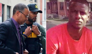 Officer Caesar Goodson (left) on the day he was acquitted of murder charges in the death of Freddie Gray (right).