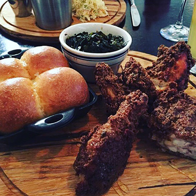 Fried chicken at Stove & Tap | Photo by Craig Slotkin