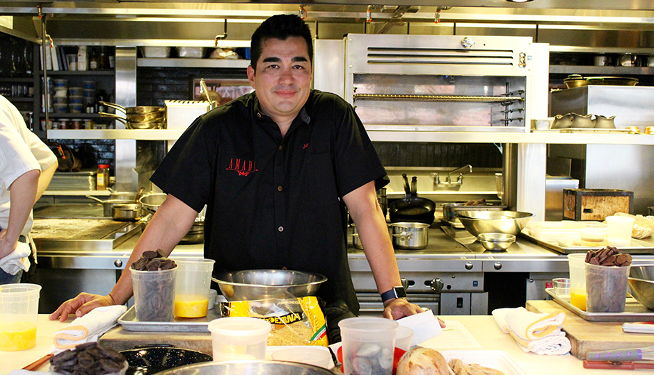 Jose Garces prepping for class at Volver's Summer School