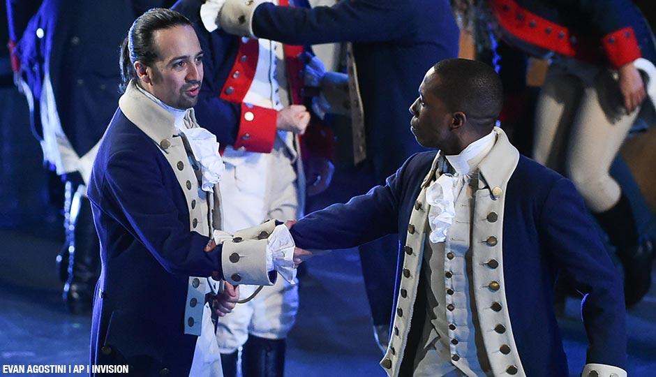 "Lin-Manuel Miranda, left, and Leslie Odom Jr. of ""Hamilton"" perform at the Tony Awards at the Beacon Theatre on Sunday, June 12, 2016, in New York."