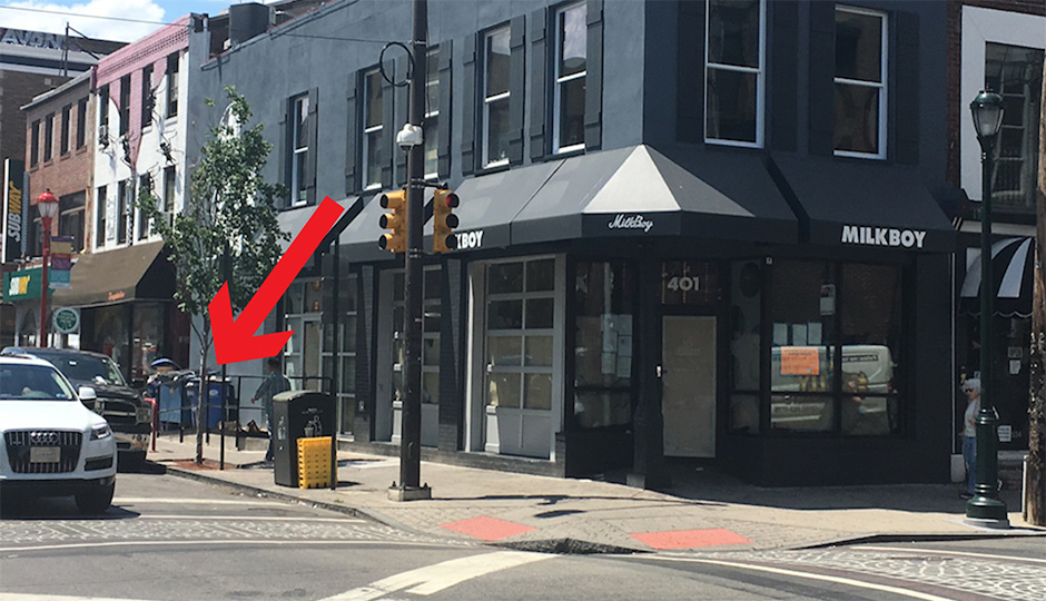 The new South Street Milkboy location with an arrow pointing to the dumpster in question. (Photo by Elizabeth Worthington)