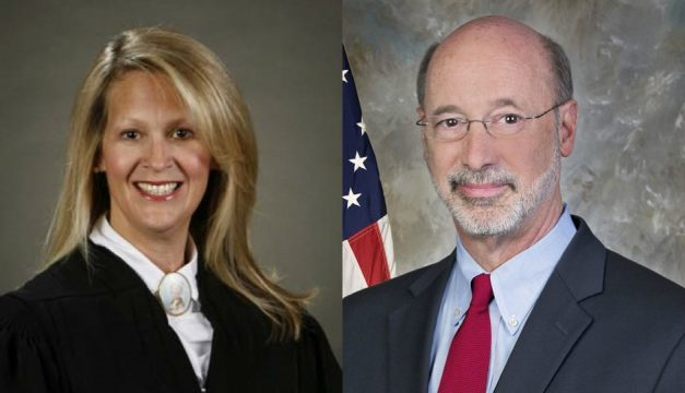 L: Courtesy of the Unified Judicial System of Pennsylvania, R: Courtesy Governor Tom Wolf via Wikimedia Commons