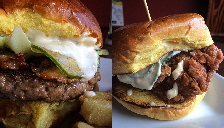 Lucifer Burger and Japanese Fried Chicken sandwiches at Tap Room on 19th