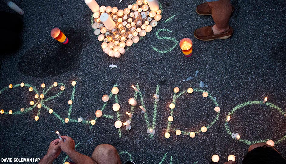 A vigil in Atlanta for the victims of a fatal shooting at an Orlando nightclub Sunday, June 12, 2016.