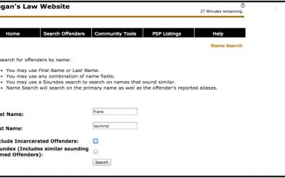 A screenshot of Pennsylvania's Megan's Law website, where Michaela Naughton found her boss Frank Laurenzi on the sex offenders list.