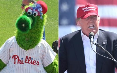 The Phillie Phanatic and Donald Trump - split photo