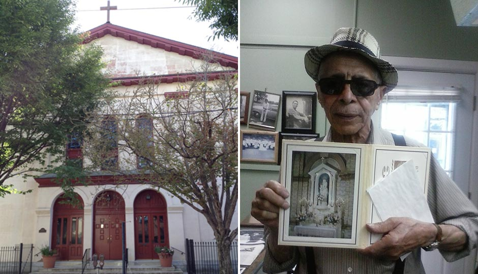 St. Peter Claver Church. Photo courtesy Arlene Edmonds. William Barney Richardson holds a Mass card for the Shrine of Our Lady of Victories inside the church.