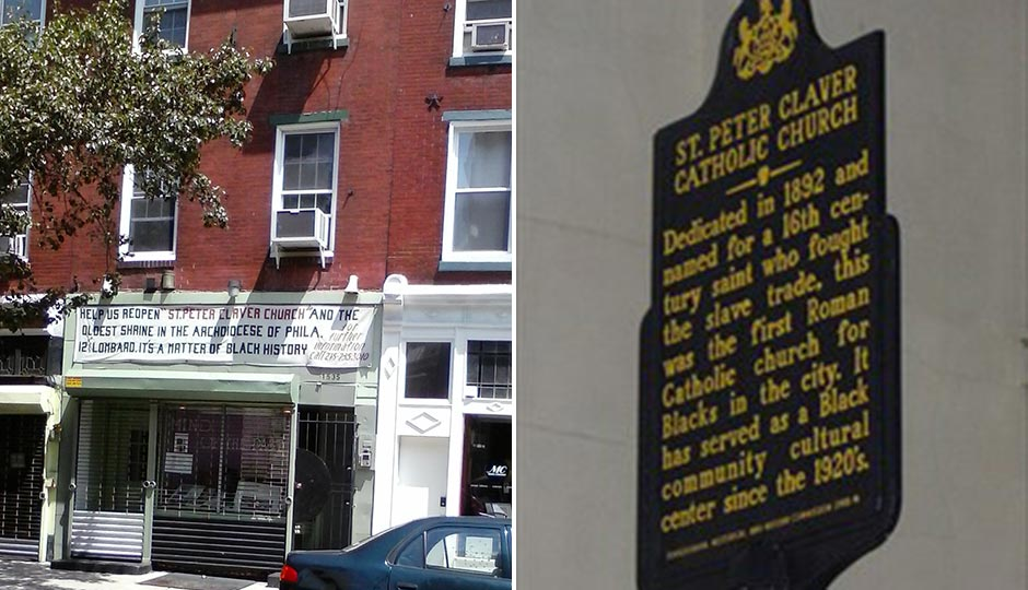 William Barney Richardson's storefront sign calling for the reopening of St. Peter Claver Church. Photo | Sabrina Vourvoulias. The church's historical marker. Photo courtesy of Arlene Edmonds.