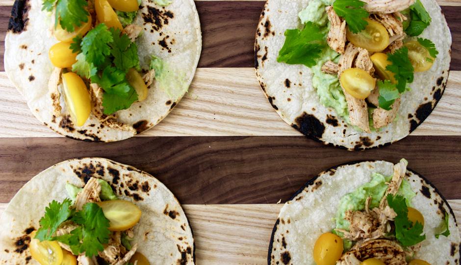 Shredded Chicken Tacos with Avocado Cream   Photo by Becca Boyd