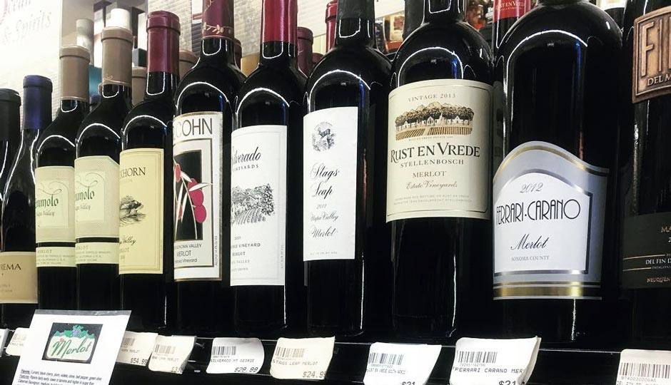 Wine for sale in grocery store