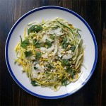 Local Zucchini Salad with fiore sardo cheese and pistacchios with a lemon vinaigrette
