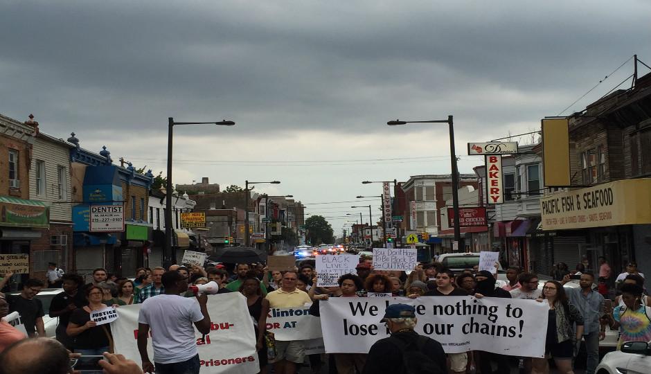 Demonstrators protesting police shootings make through way through North Philadelphia on July 8th.