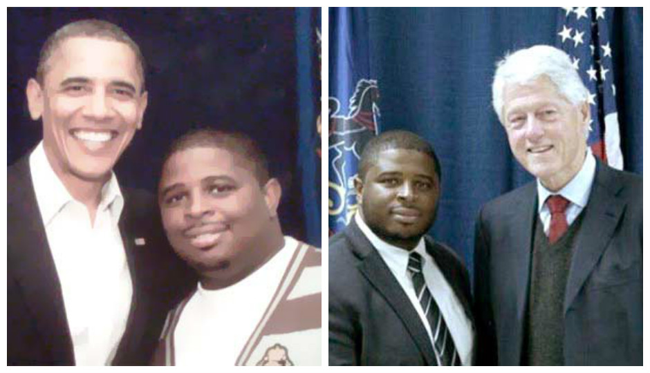 South Philly community activist Anton Moore (above, with Presidents Obama and Clinton) will speak at the DNC on Tuesday.