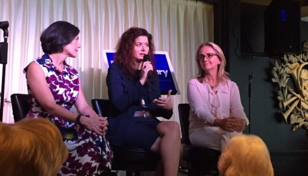 Actress Debra Messing joined a panel discussion in support of Hillary Clinton in Glenside on Wednesday.