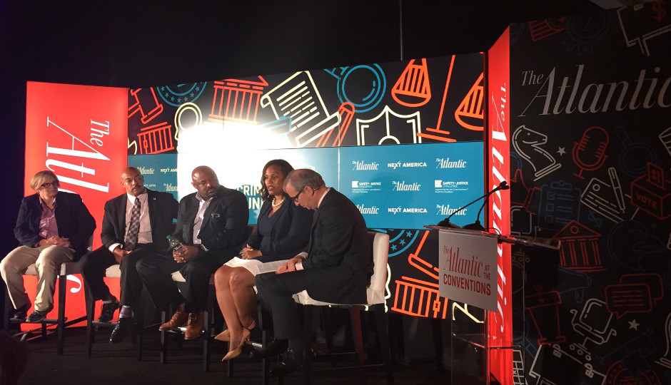 The Atlantic panel on criminal justice reform included (left to right) Anne Morrison Piehl, District Attorney Seth Williams, WIlliam Cobb, Keir Bradford-Grey and moderator Ron Brownstein.