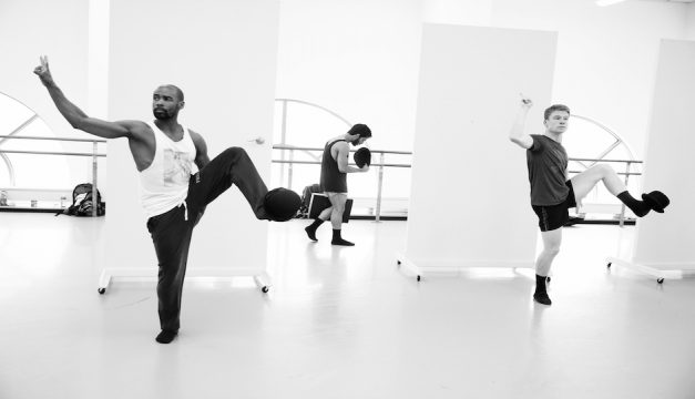 Dancers Gary W. Jeter II, Edgar Anido and Daniel Mayo rehearse for BalletX's Summer Series. Photo by Bill Hebert