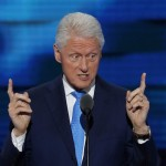 Bill Clinton delivers his keynote address of the second night of the Democratic National Convention at the Wells Fargo Center