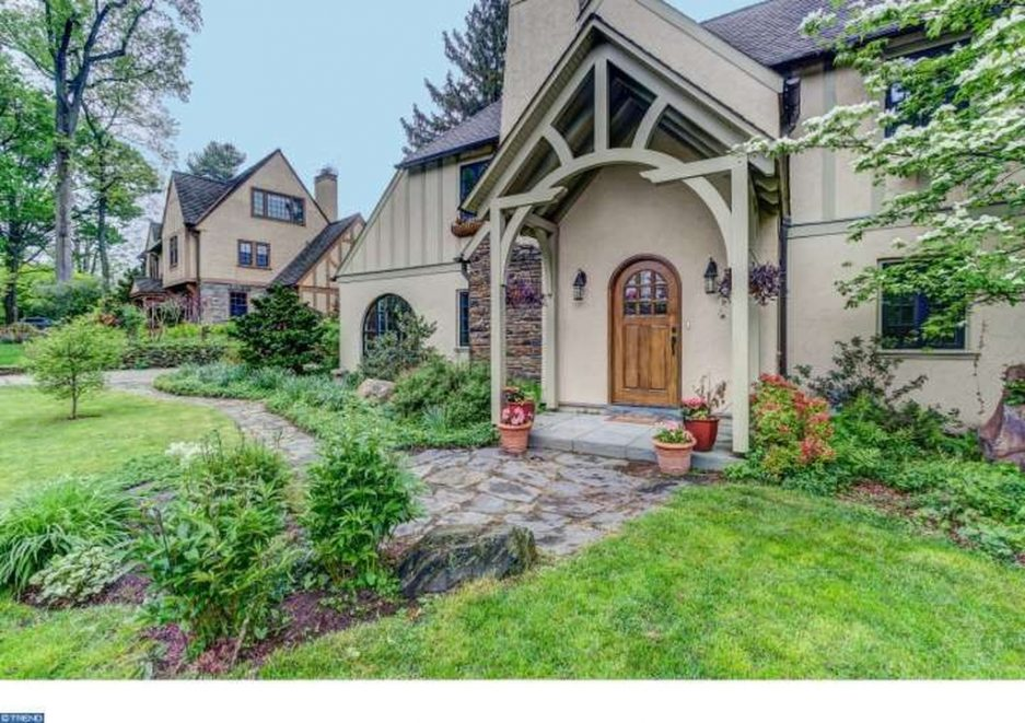 Change Front Elevation Of House : Main line tudor style home a change from the colonial