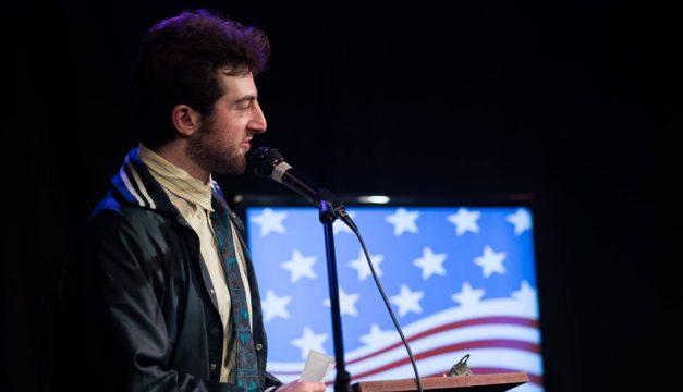 "Alex Grubard hosts Good Good Comedy's ""Electile Dysfunction."" Photo by Ed Newton"