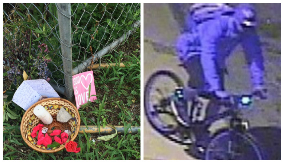 Left: Memorial marking the spot where Rickie Morgan was murdered. Right: Surveillance footage of suspect wanted in June 12th sexual assault.