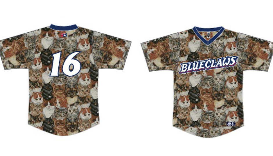The front and backs of the special cat-filled jerseys that the Phillies minor league team the Lakewood BlueClaws will wear this Saturday.