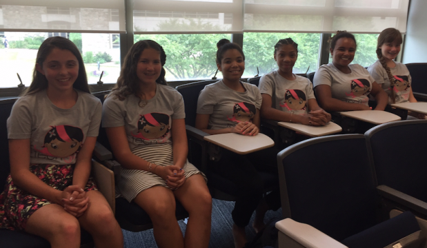 Keelyn, Dani, Alisha, Calea, Simone, and Emma spent the week designing an app and pitched it to potential investors at a TechGirlz camp.