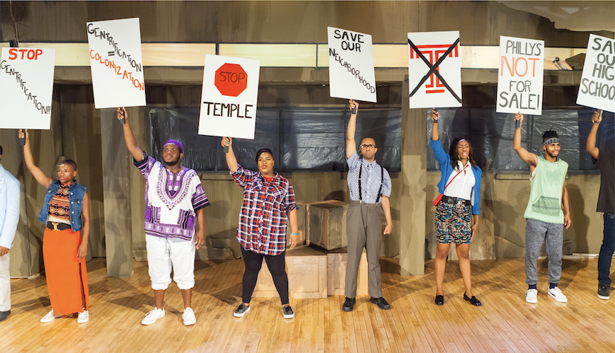 Marquis Gibson, Sanchel Brown, William Morrison, Raquel Mollineau, Matt Holbert, Lauren Shaye, Danzel Thompson-Stout, James Pitts Jr. in Don't Bother Me, I Can't Cope at Freedom Theatre. (Photo by www.ethimofoto.net)