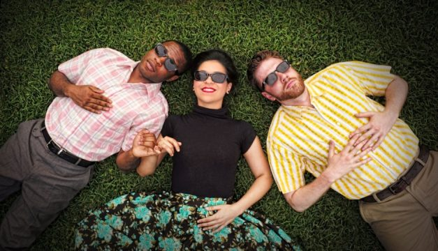 David Glover is Valentine, Maria Konstantinidis is Silvia and Jake Blouch is Proteus in Shakespeare in Clark Park's The Two Gentleman of Verona. Photo by Kyle Cassidy