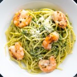Shrimp Scampi spinach over linguini-5371
