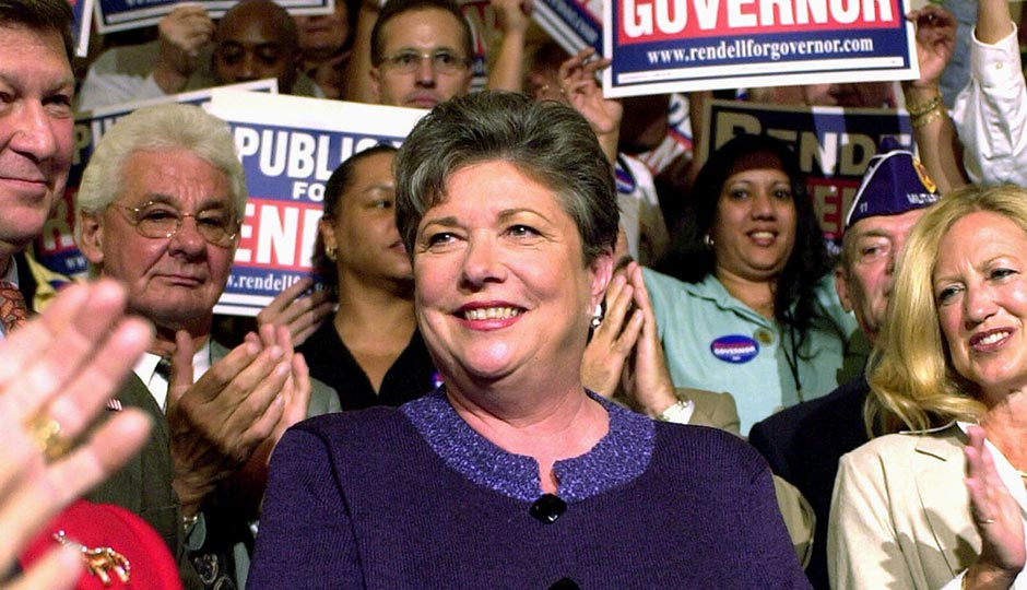 Pennsylvania Republican state Treasurer Barbara Hafer appears at a rally in the State Capitol Rotunda in Harrisburg, Pa., Wednesday, Sept. 4, 2002, in a sea of signs after endorsing Democrat Edward Rendell for governor of Pennsylvania. Photo | Paul Vathis, AP