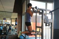 Emma doing pull-ups (with a little assistance).