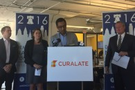 From left to right: Andrew Binns, DNCC Chief Innovation Officer; Kelli Klein, DNCC Digital Director; Apu Gupta, CEO and Co-Founder of Curalate; Mayor Jim Kenney | Photo by Fabiola Cineas.