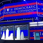 Stage and podium at the Democratic National Convention, with Philadelphia skyline and Liberty Bell