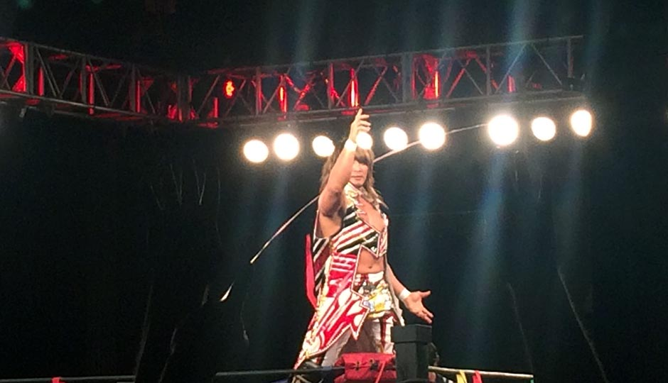 Hiroshi Tanahashi poses on the turnbuckle at the 2300 Arena