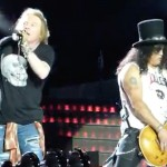 "Axl Rose and Slash performing ""It's So Easy"" at the Guns N' Roses concert at Lincoln Financial Field in Philadelphia on July 14, 2016. (Photo via YouTube)"
