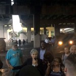 Jill Stein speaks to supporters under I-95 in FDR Park after thunderstorms forced the Green Party to halt its rally | Photo: Dan McQuade