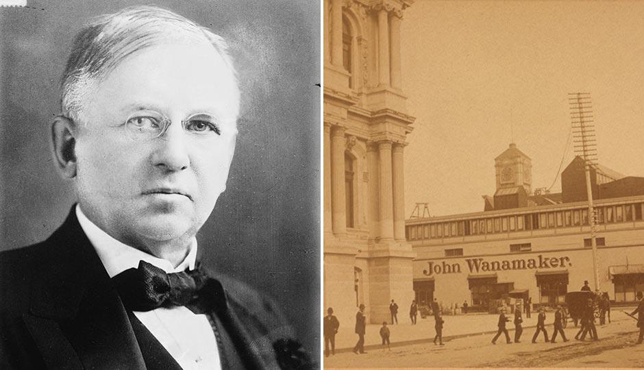 """Left: John Wanamaker in July 1915. Right: City Hall and John Wanamaker's """"Grand Depot"""" at 13th & Market"""