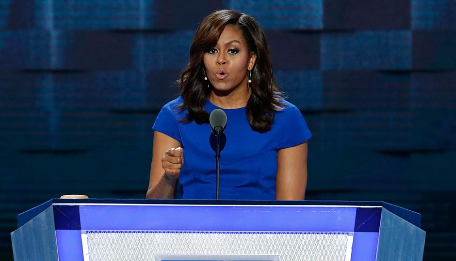 Michelle Obama speaking last night at the DNC. Photo by J. Scott Applewhite/AP
