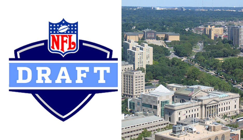 The NFL draft logo side by side with the Benjamin Franklin Parkway