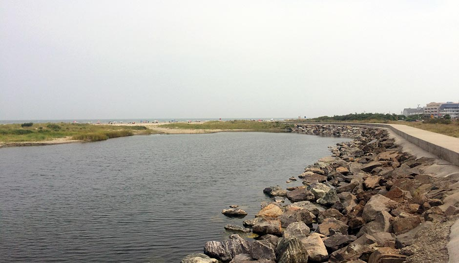a shot of the rocky shoreline at the northern tip of North Wildwood