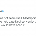 Matt Bai tweet: It really does not seem like Philadelphia was prepared to hold a political convention. Columbus would have aced it.